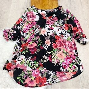 Notations Floral Zip Neck Roll Tab Sleeve Top 3109